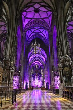 Beautiful purple stained glass flooding the floor with beautiful light from tall cathedral like ceiling. Gothic Buildings, Gothic Architecture, Beautiful Architecture, Beautiful Buildings, Beautiful Places, Die Renaissance, Fantasy Places, Fantasy Landscape, Gothic Landscape