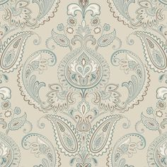 Deluxe sand/teal/espresso paisleys indoor wallcovering by York. Item ND7074. Lowest prices and free shipping on York wallpaper. Find thousands of designer patterns. Width 27 inches. Swatches available.