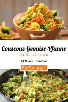 Couscous and vegetable pan - EAT SMARTER Couscous and vegetable pan - with Harissa . - Couscous and vegetable pan – EAT SMARTER Couscous and vegetable pan – with Harissa – smarter - Raw Food Recipes, Salad Recipes, Vegetarian Recipes, Healthy Recipes, Dishes Recipes, Free Recipes, Vegetable Dishes, Vegetable Recipes, Vegetable Couscous