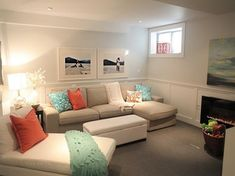 Sofa For Small Space Living Room Ideas. Home Interior Ideas For Living Room. Change Your Living Room Decor On A Limited Budget In Six Steps Basement Living Rooms, My Living Room, Home And Living, Living Room Decor, Living Spaces, Living Area, Rec Rooms, Dining Room, Cozy Living