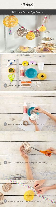 Create this easy DIY String Egg Banner for spring and Easter party décor. Customize paint colors to coordinate with your theme.  Click thru for complete instructions and supplies.