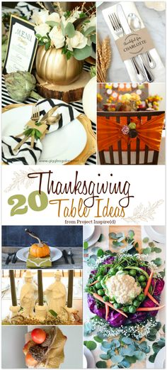 Thanksgiving is a holiday where the main focus is centered around our tables. This year, make your Thanksgiving table extra special with these extraordinary table ideas. From centerpieces, to napkin rings, to place cards, and so much more. You'll be inspired with this fabulous round-up of fresh ideas that you can duplicate. All features from our weekly Project Inspire{d} link party.