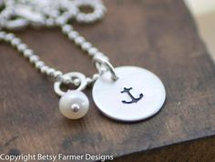 Anchor Necklace  Nautical Jewelry  Hand by betsyfarmerdesigns, $25.00