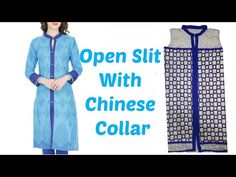 How To Cut And Stitch Open Slit Kurti With Chinese Collar - YouTube