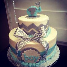 Elephant Chevon theme Baby Shower Cake