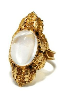 Golden Leaves in an Art Nouveau Moonstone Ring - The Three Graces