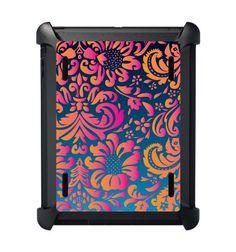 Black Friday CUSTOM OtterBox Defender Series Case for Apple iPad 2 / 3 / 4 / New - Pink Blue Orange Flower Damask Design from ChargersAndCases