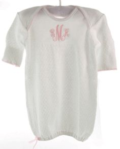 White Monogrammed Gown for newborn baby girl with Pink Trim