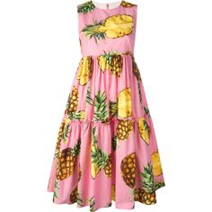 Dolce & Gabbana pineapple print dress ($1,895) ❤ liked on Polyvore featuring dresses, pleated dress, sleeveless pleated dress, round neck dress, pink dress and pink sleeveless dress