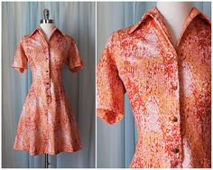 vtg 60s orange red pink go go dress 1960s abstract floral