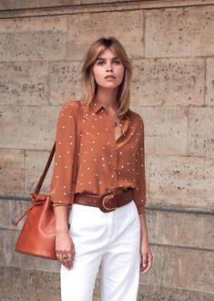 31 Best Polka Dot Blouse for Women Work Outfit - Fashionmgz Fashion Mode, Work Fashion, Fashion Outfits, 80s Fashion, Hijab Fashion, Traje Casual, Bluse Outfit, Business Casual Dresses, Spring Work Outfits