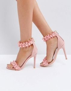 bc99f5249f3 Missguided Ruffle Barely There Heeled Sandal Pink High Heels