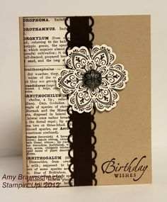 147422587776719561 handmade birthday card ... kraft base with black and vanilla ... luv this combo ... book paper ... ornamental fower ... Stampin Up!