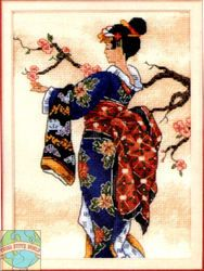 """""""Mai"""" The Gold Collection Petites from Dimensions, Counted Cross Stitch Kit (size or 18 count Aida fabric) Counted Cross Stitch Kits, Cross Stitch Charts, Cross Stitch Designs, Cross Stitch Embroidery, Cross Stitch Patterns, Cross Stitching, Dimensions Cross Stitch, Art Asiatique, Needlepoint Kits"""