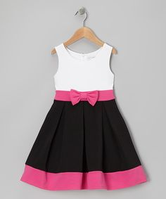 Take a look at this White & Black Bow Dress - Girls on zulily today!