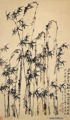 清代 - 鄭燮 -《竹石圖》 Zheng Xie (1693–1765), commonly known as Zheng Banqiao (鄭板橋) was a Chinese painter from Jiangsu. Qing dynasty