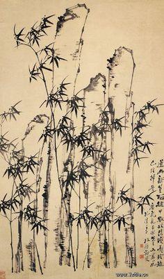 清代 - 鄭燮 -《竹石圖》                Zheng Xie  (1693–1765), commonly known as Zheng Banqiao (鄭板橋) was a Chinese painter from Jiangsu. Qing dynasty