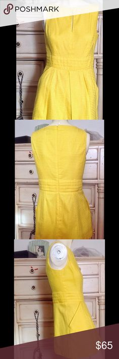 RALPH LAUREN CANARY YELLOW PEPLUM PLEATED Top Gorgeous top or mini-dress with peek-a-boo opening, and pleated peplum style frill in 100% cotton pique. It is rand new, never used condition. Zipper on side fora perfect fit, size 4. Happy poshing, and happy bundle. Ralph Lauren Tops