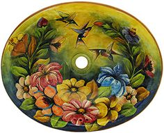Mexican Majolica Hummingbird Sink. From the Santa Rosa workshop of central Mexico, high above the city of Guanajuato at 8,360 feet. All Majolica sinks from La Fuente Imports are self-rimming for easy installation, feature a built-in drain hole (connects to the bottom drain internally), and have a plain white exterior.