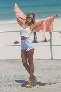 Shorts: clothes high waisted summer beach blouse shirt orange coral white highwaisted high waisted