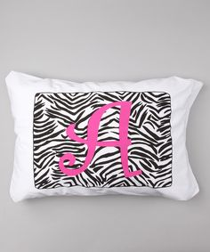 Take a look at this Zebra Initial Standard Pillowcase on zulily today!