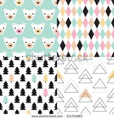 Seamless Organic Retro Basic Pastel Geometric Repeat Pattern Scandinavian Style In Vector - 193199591 : Shutterstock