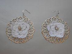 White Bridal Earrings-White Crochet Earrings-Filigree Earrings-Crochet Earrings-Bridal Accesories
