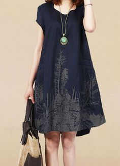 New Women Summer Mori Girl Big Yards Loose Cotton Ink Printed Short Sleeve  Dress. Vestido BurberryKedsCute DressesLinen ... 167453359