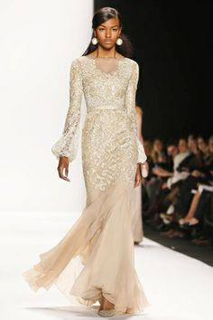 Badgley Mischka Ready To Wear Fall Winter 2014 New York...Beautiful. Love everything the color, details & fabric. Adjust the sleeves to fit your style BUT keep everything else. Cheaper to have custom-made than purchasing from salon.