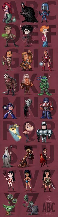 The Geeky Nerfherder: Cool Art: 'The Ultimate Pop Culture ABC' by Jeff Victor Geek Art, Nerd Geek, Cultura Pop, Chibi, Comic Art, Comic Books, Humor Grafico, Fan Art, Geek Culture