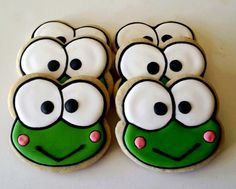 Six Keroppi face sugar cookies. by jaynessugarshack on Etsy, $21.00