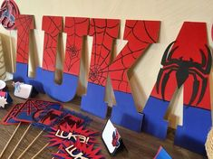 Spiderman Wooden Name Letters Spiderman Birthday Letters Spiderman Room Decor Spiderman Party Spiderman Name Superhero Party Superhero Spider Man Party, Fête Spider Man, Superhero Birthday Party, 4th Birthday Parties, Birthday Fun, Birthday Party Decorations, Spiderman Birthday Ideas, Spiderman Theme Party, Birthday Letters