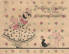 Vintage Art Deco granddaughter birthday card digital download printable instant image clip art by BigGDesigns on Etsy