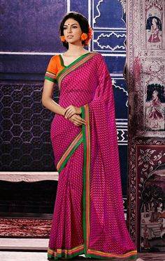 Picture of Ideal Rani Color Saree for Party