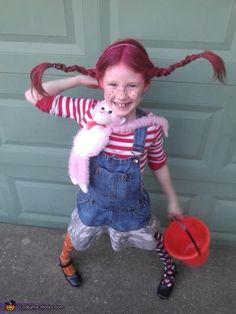 Pippi Long-stocking costume. Homemade for Halloween.
