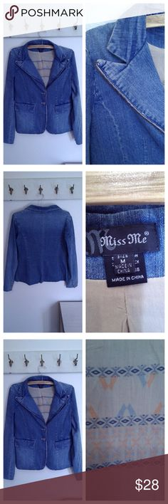 Miss Me Denim Jacket, Size Medium Long Sleeves Lined in an Aztec print fabric Faded denim style Label size M Miss Me Jackets & Coats Jean Jackets