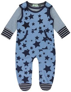 Lilly and Sid Baby Boys Star Print Dungaree Set Clothing