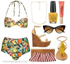What to Wear On Vacation Topshop Tropical High Waist Bikini Nasty Gal Shoe Cult Tease Wedge Nine West Cassie Straw Clutch Visconti & Du Reau...