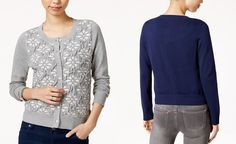 Maison Jules Jacquard Cardigan, Only at Macy's - Sweaters - Women - Macy's
