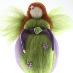 Green Fairy Needle Felted Waldorf Fairy Ornament Fairytale Decoration Soft Sculpture Merino Wool Art Doll. $26.90, via Etsy.