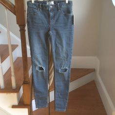 Free people skinny jeans very stretchy. Holes in knees are part of the style Free People Jeans Skinny