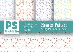 Hearts Pattern Digital Paper Pack by PixelaitStu on @creativemarket