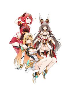Xenoblade Chronicles 2 Pyra, Mythra & Blade Nia by Q-pra Game Character Design, Character Art, Anime Siblings, Xenoblade Chronicles 2, Best Rpg, Comic Manga, A Hat In Time, Manga Games, Fire Emblem