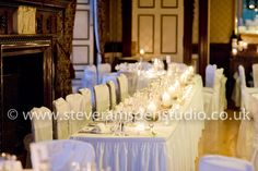Long head table in Samuels Restaurant Swinton Park