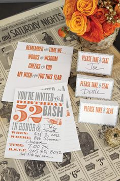 A Birthday Bash: free printable collection (invitations: blank age, or printed ages 40-60), place cards and notecards