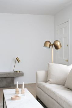 minimalist neutral living room with walls painted Farrow & Ball Wevet