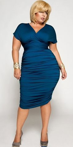 "I might even wear a dress if I could have this one! ""Marilyn"" Ruched Convertible Dress in Blue, $215 by holly"