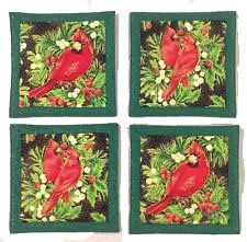 "Amazon.com: Custom & Cool {4"" Inches} Set Pack of 4 Square ""Grip Texture"" Drink Cup Coaster Made of Flexible 100% Cotton w/ Delicate Male Cardinals Perched In Trees Design [Colorful Red, Black & Green]: Home & Kitchen"