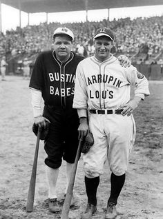 "Babe Ruth and Lou Gehrig 1927 -- Yankee stars Ruth and Lou Gehrig pose in their ""Bustin' Babes"" and ""Larrupin Lous"" uniforms from their 1927 barnstorming tour. The teams, which consisted mostly of local amateurs and minor leaguers, played 21 games across the country immediately after the Yankees swept the Pirates in the World Series."