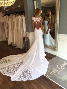 2016 New Sleeveless Mermaid Sheath Formal Wedding Dresses Backless Applique Lace Backless Bridal Gowns Custom Size by DeeDeeBean